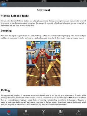 Screenshot unofficial Subway Surfers Cheats&Complete Subway Surfers Cheats, Tips, and Game Guide! on iPad