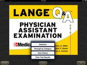 Screenshot Physician Assistant LANGE Q&A on iPad