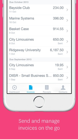Screenshot Xero on iPhone