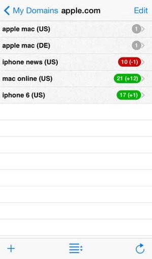 Screenshot SEO Search Ranking on iPhone
