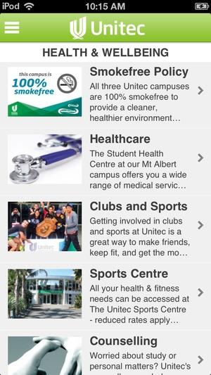 Screenshot Unitec Students App on iPhone