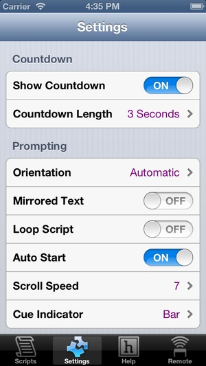 Screenshot ProPrompter on iPhone