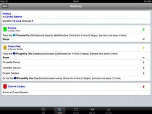 Screenshot London Underground on iPad