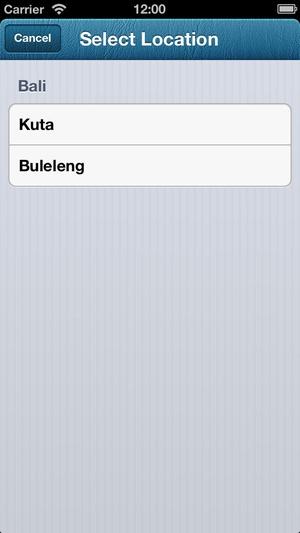 Screenshot Bali Tide Times on iPhone