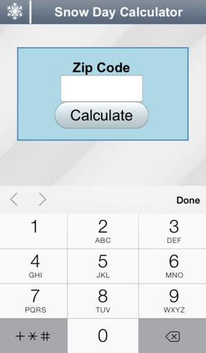 Screenshot Snow Day Calculator on iPhone