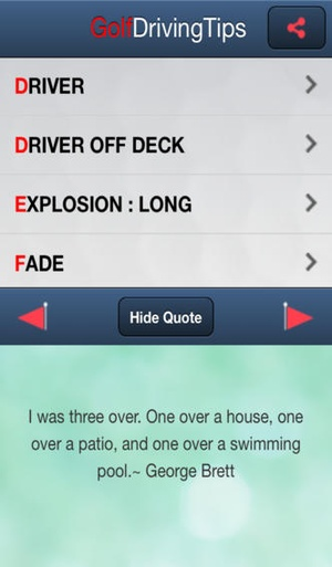 Screenshot Golf Driving Tips Free on iPhone