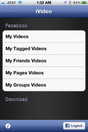 Screenshot iVideo for Facebook on iPhone