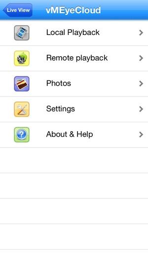 Screenshot vMEyeCloud on iPhone