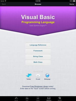 Screenshot Visual Basic Programming Language on iPad