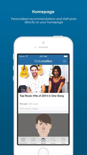 Screenshot dailymotion on iPhone