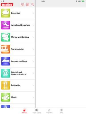 Screenshot Berlitz iPhrase French on iPad