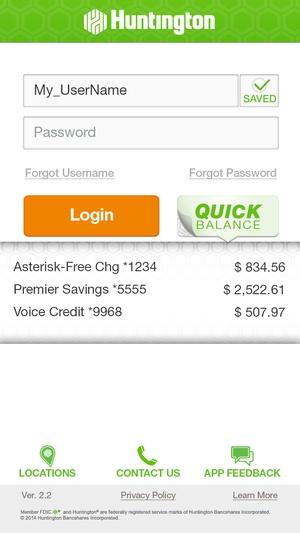 Screenshot Huntington Mobile on iPhone