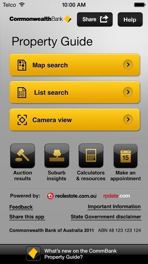 Screenshot CommBank Property Guide on iPhone