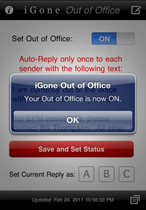 Screenshot iGone Out of Office (Outlook Web Access) on iPhone