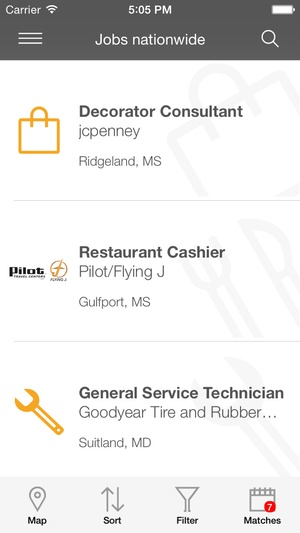 Screenshot Job Search on iPhone