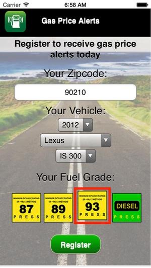 Screenshot Gas Price Alerts on iPhone