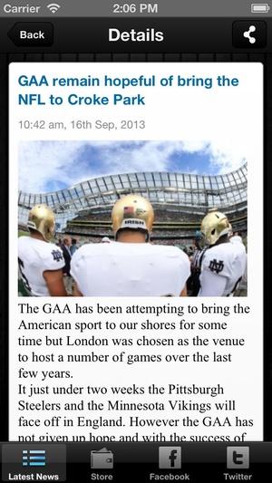 Screenshot Club GAA Magazine on iPhone