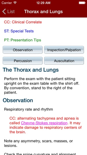 Screenshot Physical Exam Essentials on iPhone