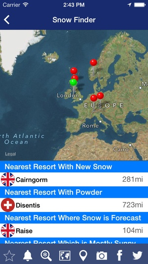 Screenshot Snow Forecast on iPhone