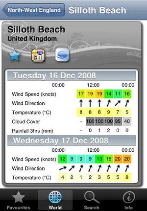 Screenshot WindGuru on iPhone
