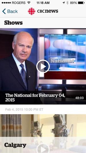 Screenshot CBC News on iPhone
