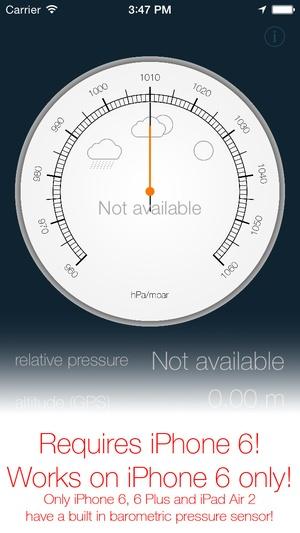 Screenshot Barometer & Altimeter for iPhone 6 / iPad Air 2 on iPhone