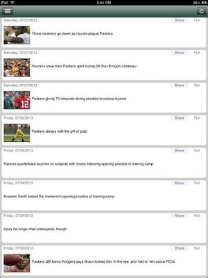 Screenshot Green Bay Football News Live on iPad