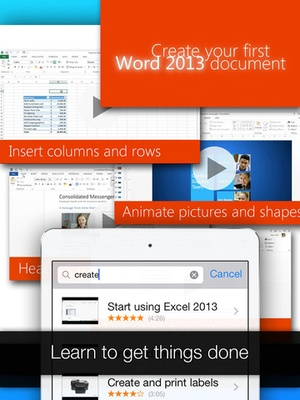 Screenshot Full Docs for Microsoft Office, Word, Excel, PowerPoint, Outlook & OneNote on iPad
