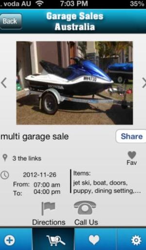 Screenshot Garage Sales Australia on iPhone