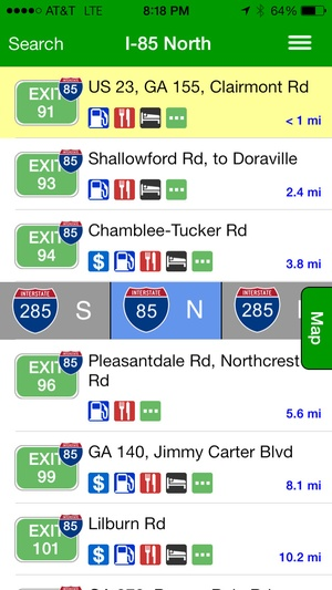 Screenshot iExit Interstate Exit Guide on iPhone