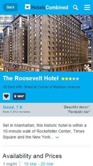 Screenshot HotelsCombined on iPhone