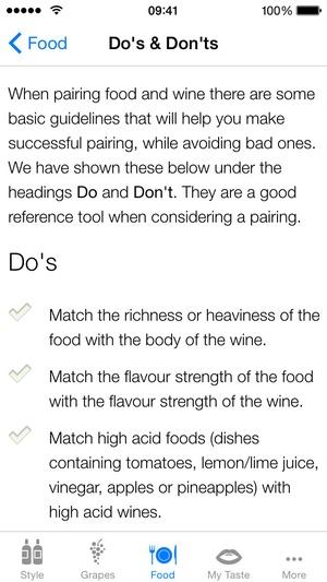 Screenshot Pocket Wine Pairing on iPhone
