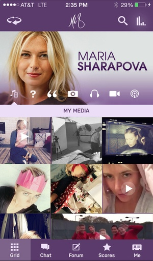 Screenshot Maria Sharapova Official App on iPhone