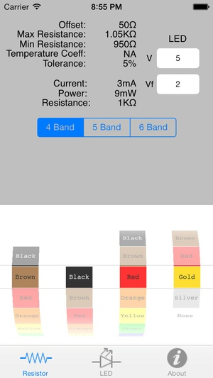 Screenshot Resistor Color Code w/LED Calculator on iPhone