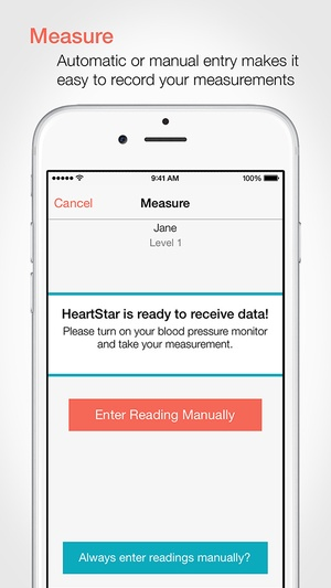 Screenshot HeartStar Blood Pressure Monitor on iPhone