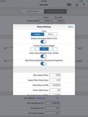 Screenshot HVAC Duct Sizer on iPad