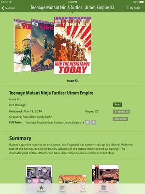 Screenshot TMNT Comics on iPad