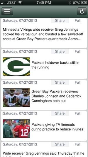 Screenshot Green Bay Football News Live on iPhone