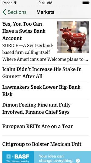 Screenshot The Wall Street Journal. on iPhone