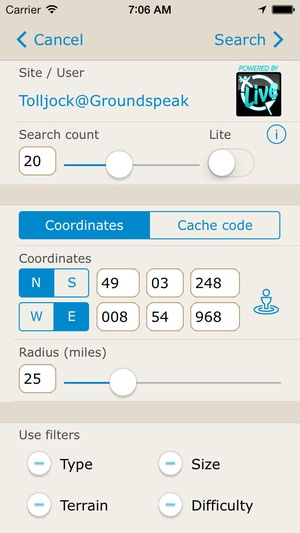 Screenshot Looking4Cache Pro on iPhone
