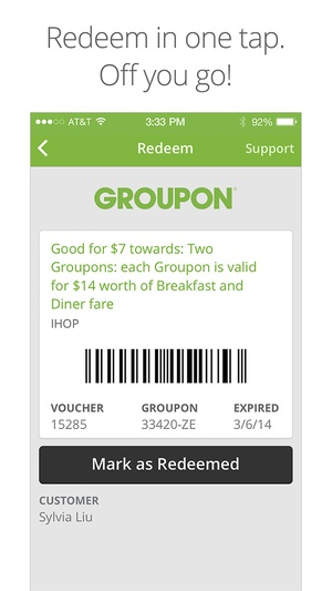 Screenshot Groupon on iPhone