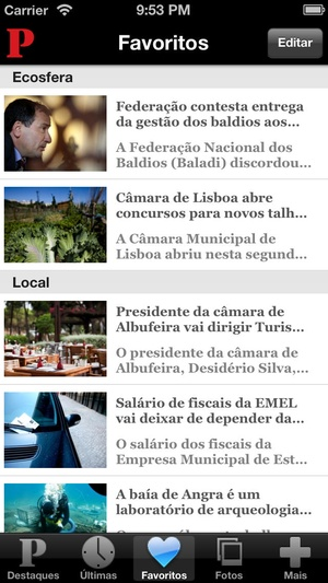 Screenshot Público Newsstand on iPhone