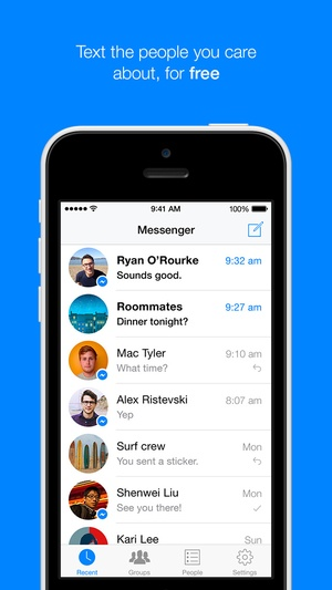 Screenshot Facebook Messenger on iPhone
