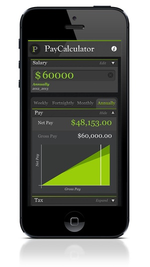 Screenshot PayCalculator on iPhone