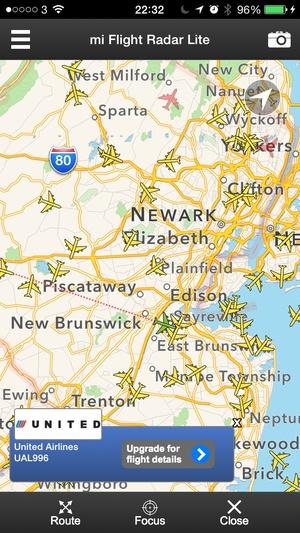 Screenshot mi Flight Radar Lite on iPhone
