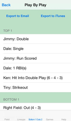 Screenshot touchScore Baseball Scorecard on iPhone