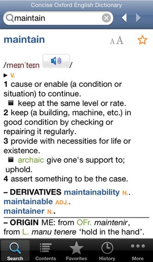 Screenshot Concise Oxford English Dictionary & Thesaurus on iPhone