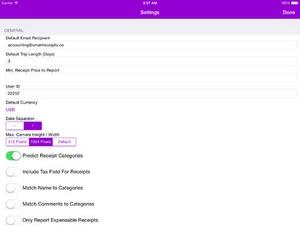 Screenshot Smart Receipts on iPad