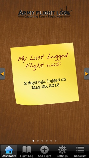 Screenshot Army Flight Log on iPhone