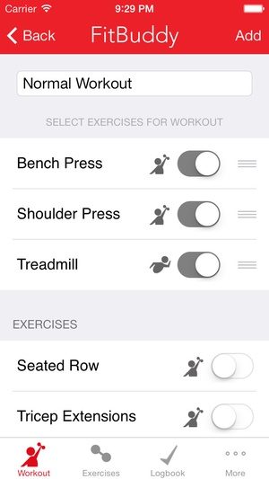 Screenshot FitBuddy Gym Tracker on iPhone
